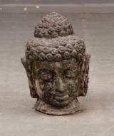 Buddhahuvud. Trädgårdsskulptur