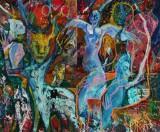 Hans Oldau Krull. 'Bossen på en god dag', acrylic on canvas