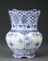 Royal Copenhagen. Blue Fluted Pattern, Full Lace. Vase, porcelain, model 1124