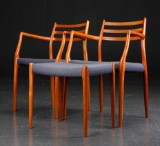 N. O. Møller 1920-1982. Two armchairs and stool, cherry. Model 62 (3)