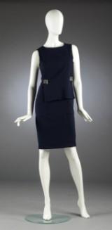 Chanel, Kleid aus marineblauer Wolle, Gr. 38