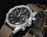 Junghans 'Military Chronograph'. Vintage men's watch, matt metal with black dial, c. 1965