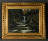 Johan Tirén, Sami fishing by waterfall, oil on canvas