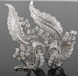 Platinum diamond floral twin brooch approx. 6.00ct (2).