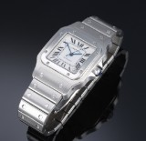 Cartier 'Santos XL Galbee' automatic men's watch, steel, pale dial, 2000's