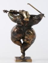 Henrik Fischer. 'Violinist'. Unikale Skulptur aus patinierter Bronze, H. 13,5 cm