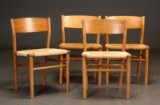 Børge Mogensen. Fire stole af teak og eg (4)