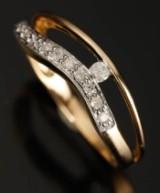 Ring, 9 kt. guld, 0.22 ct