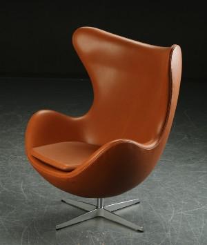 arne jacobsen 39 das ei 39 sessel cognacfarbenes leder. Black Bedroom Furniture Sets. Home Design Ideas