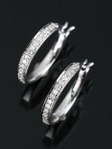 Øreringe, 9 kt rhodineret guld, med 0.30 ct diamanter