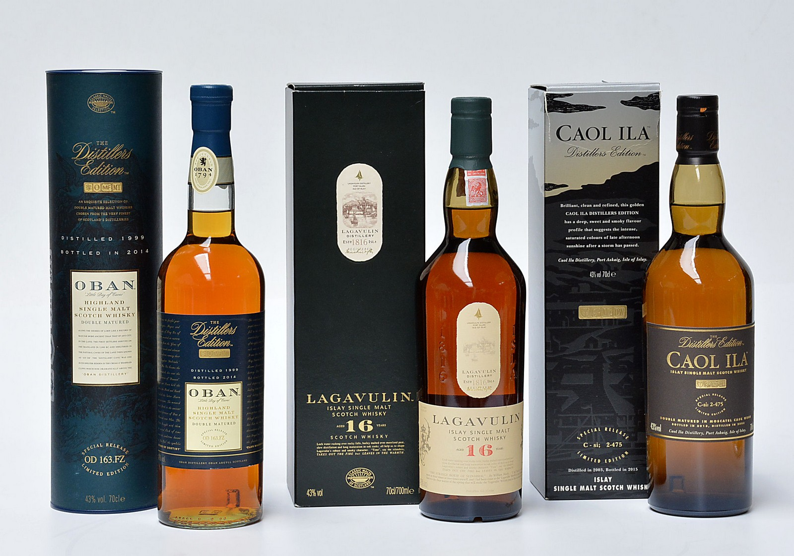 1 fl. Lagavulin, 1 fl. Caol Ila og 1 fl. Oban Single Malt Scotch Whisky - 1 fl. Lagavulin, Islay Single Malt Scotch Whisky, 16 Years, 43%. 1 fl. Caol Ila, Islay Single Malt Whisky,Double matured in Moscatel cask wood, 43%. 1 fl. Oban, Highland Single Malt Scotch Whisky, Double matured, 43%. Alle med original emballage