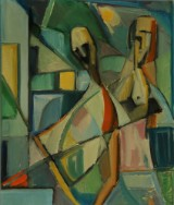 Kubistisk figurkomposition, olie på lærred