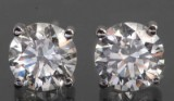 Earrings with brilliant cut diamonds approx 0.98ct