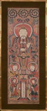 Burmesisk billede, gouache på papir, ramme af bambus