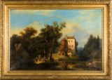 Unknown artist, landscape picture with castle, oil on canvas, probably 18th/ 19th century
