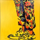 Anders Bundgaard, akryl på plade, 'Frank Zappa's feet'