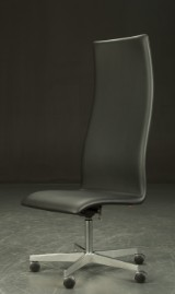Arne Jacobsen. High-backed Oxford office chair, black leather