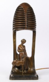 Peter Tereszczuk. Figurine table lamp in bronze, H. 41 cm (CD)