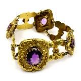 Armband, 14K guld (Enligt certifikat 20,3K), besatt med ametister.