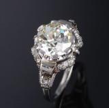 Diamantsolitärring aus 18 kt. Weißgold und Platin mit Diamant im Altschliff - ca. 2.95 ct.