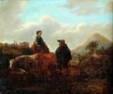 Ubekendt kunstner. Olie på lærred, personer og køer, 1800-tallet