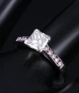 Diamond solitaire ring, platinum with square princess-cut diamond, 0.92 ct. Diamond with GIA laser inscription