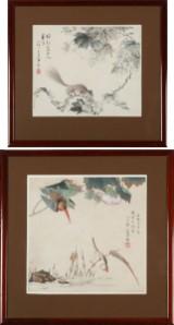 Kinesisk kunstner, akvarel, landskabspartier (2)