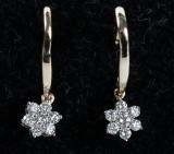 Diamant ørelokker, stjerneform, 14 kt. guld, 0.21 ct. Et par (2)