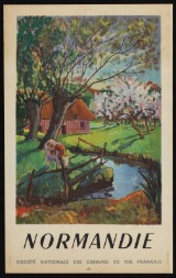 Léon Devos. 'Normandie, Société Nationale Des Chemins De Fer Francais'. Vintage plakat