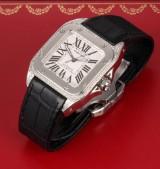 Cartier 'Santos 100'. Automatic men's watch, steel with diamonds