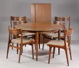 Johannes Andersen, spisestole, Uldum samt dansk møbelproducent, spisebord. (9)