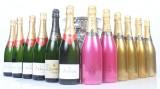 Seks flasker champange, seks flasker mousserende vin, samt tre champangekølerer. (15)