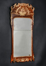 Danish rococo mirror, with candleholders, c. 1760