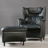Franz Josef-Schulte, wing-back chair, model 'DS 23' with ottoman & footstool for de Sede (2)