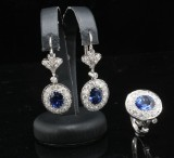 18kt. diamond and sapphire earrings and ring set approx. 4.00ct