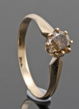 14kt diamond solitaire ring decorated with brilliant-cut diamond approx. 0.46ct.With HRD report