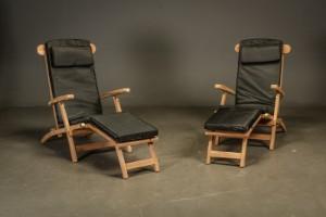 Dækchairs, teak (2) - Dk, Helsingør, Støberivej - Dækstole. Havemøbler bestående af to dækchairs/stole udført af teaktræ, stolene har stilbar ryg og kan foldes helt sammen. Mål: H. 100 B. 60 liggemål ca. 200 cm. OBS! modelfoto, varen er i ubrudt original emballage 2  - Dk, Helsingør, Støberivej