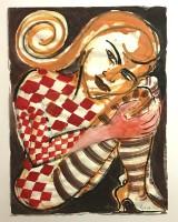 Elvira Bach, watercolour on paper, Renaissance wooden frame