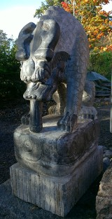 A pair of guard sculptures, bluestone, China, known as the water guardians Li Shou (2)