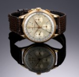 Longines 'Triple Date'. Vintage men's watch, 18 kt. gold, with pale dial, 1950s