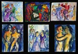 Karen Degett. Seks kompositioner, akvarel m.m. på papir (6)