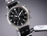 IWC 'Fliegeruhr Doppelchronograph'. Men's steel watch with black dial - box + cert. 2016
