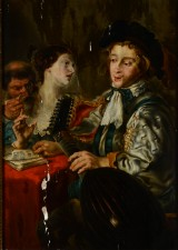 In the manner of Jacob Jordaens. Scene with three figures, 17/18th century