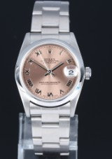 Rolex Datejust. Mid-size ladies watch, steel, with rose-coloured dial, c. 2000