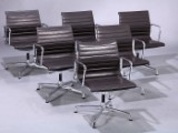 Charles Eames. Set of six lounge chairs, Model EA-108, full Leather, dark brown (6)