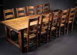 French refectory table and ten chairs, dark-stained wood (11)