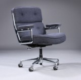 Charles Eames. Vintage office chair. Time Life Lobby Chair, coke-grey wool