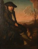 Nordeuropæisk kunstner, 1700-tallets sidste halvdel, landskab med siddende ung mand i jagtdragt, olie på lærred