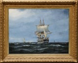 Siegfried Hass, marine painting with the Frigate Jylland