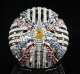 18kt diamond and gem Assyrian flag ring 1.95ct by designer